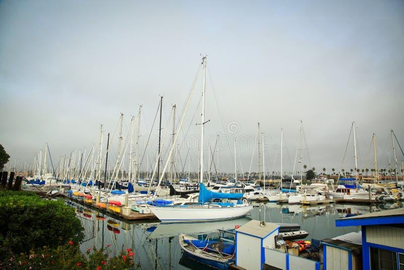 Channel Islands Harbor Marina Oxnard California  boats. Pacific Ocean coastline in Oxnard at Channel Islands Harbor on foggy day royalty free stock photos