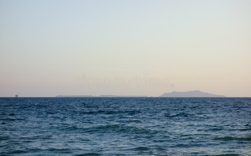 Channel Islands, Southern California. Channel Islands in evening hour as seen from Mandalay Beach, Oxnard, California royalty free stock images