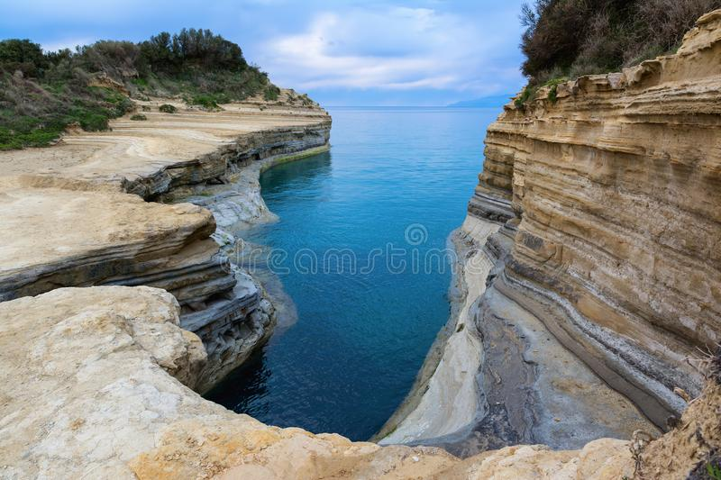 The Channel of Love, Canal d`amour in Sidari. Corfu Island, Greece.  stock photos
