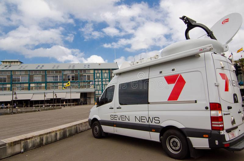 Channel 7 news outside broadcasting van at Wharf Terraces, Sydney Cove, Woolloomooloo. stock images