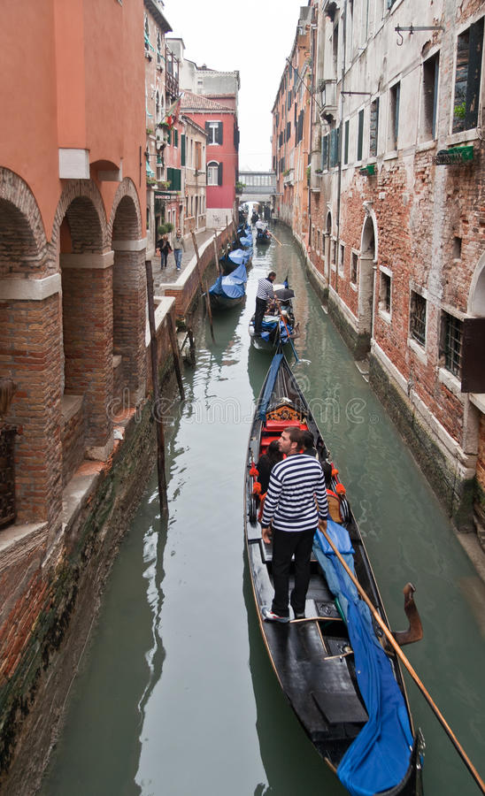 Download Channel In Venice With Gondolas Editorial Photo - Image of striped, venice: 18279386