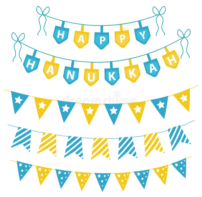 Chanoeka vastgestelde slingers, linten Chanoeka voor een partij wordt geplaatst die vector illustratie