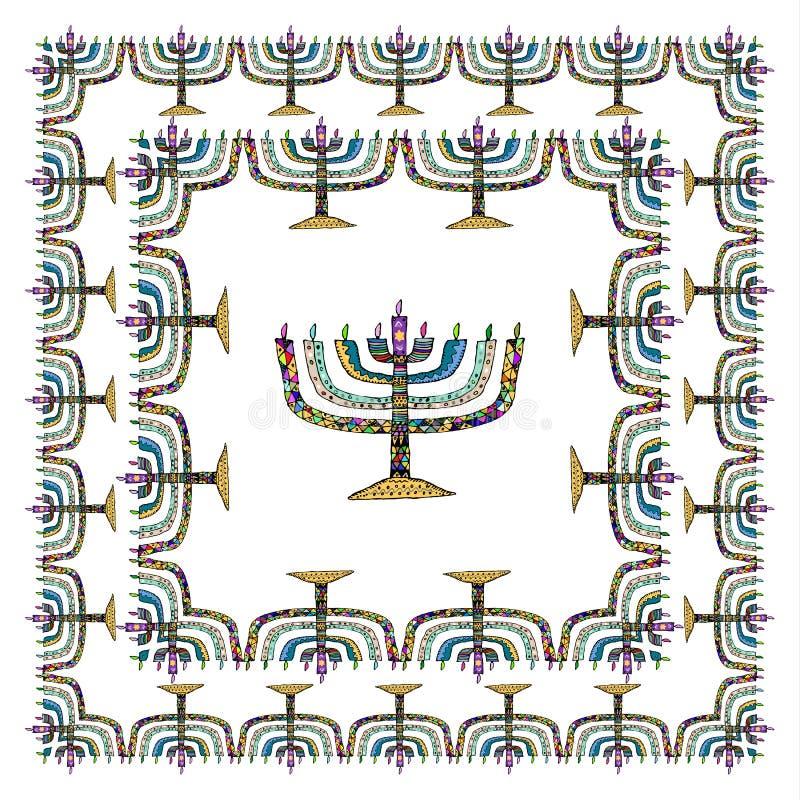 Chanoeka vierkant kader Menorah, Hanukiah De Joodse Chanoeka van de Vakantie De hand trekt, Krabbel Vectorillustratie op ge?solee royalty-vrije illustratie