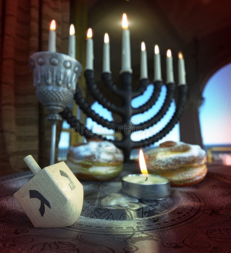 Chanoekaachtergrond met kaarsen, donuts, tol royalty-vrije stock fotografie