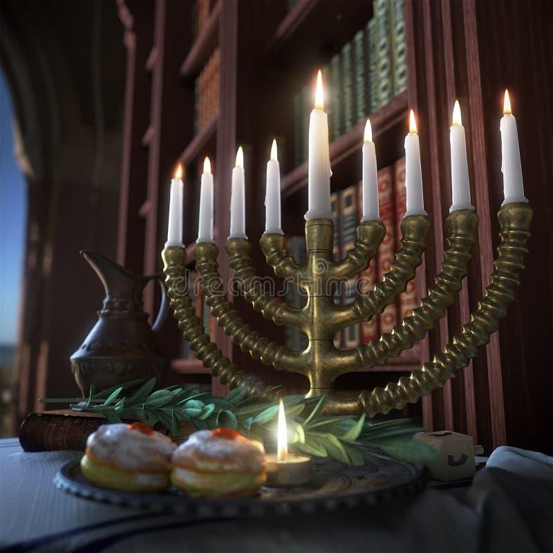 Chanoekaachtergrond met kaarsen, donuts, tol en oude boeken stock afbeelding