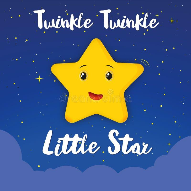 Chanson douce de petits enfants d'étoile de scintillement de scintillement la nuit illustration stock