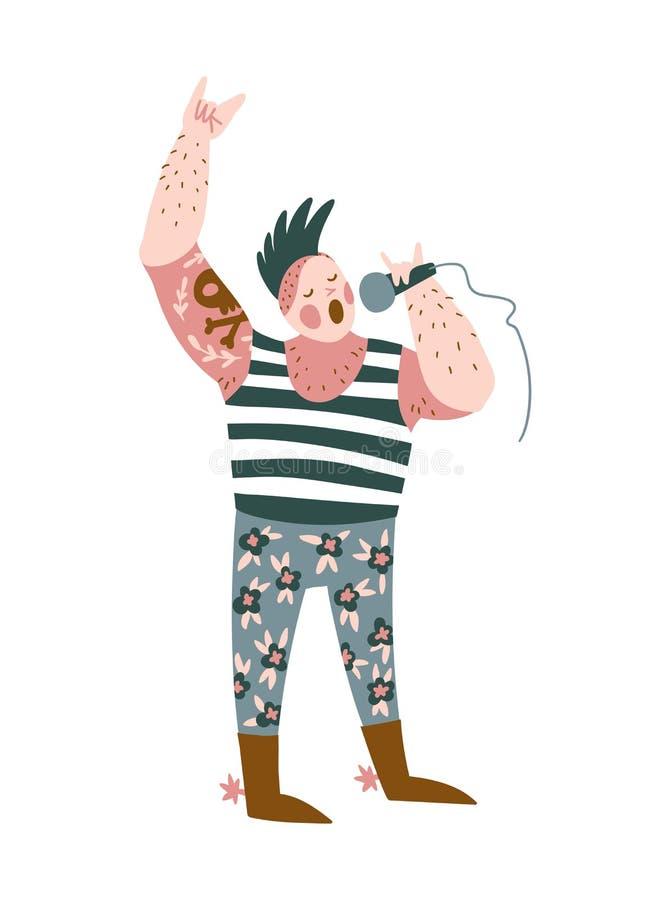Chanson drôle de punk rock de chant de musicien d'isolement sur le fond blanc Illustration de vecteur pour le festival de musique illustration libre de droits