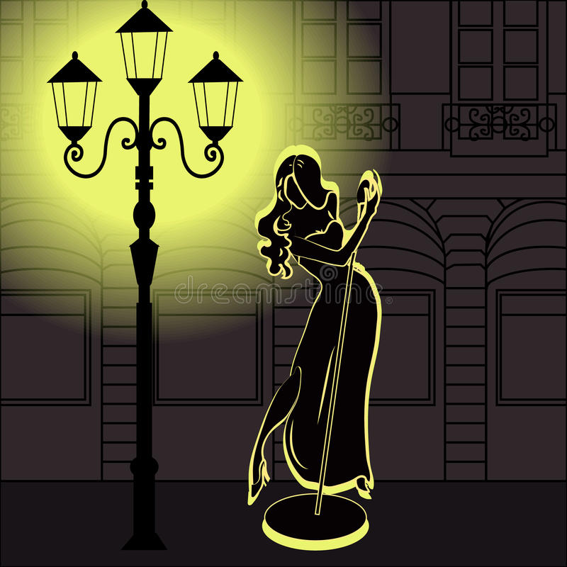 Chant élégant, sinueux et sexy de femme de chanteur de jazz illustration de vecteur