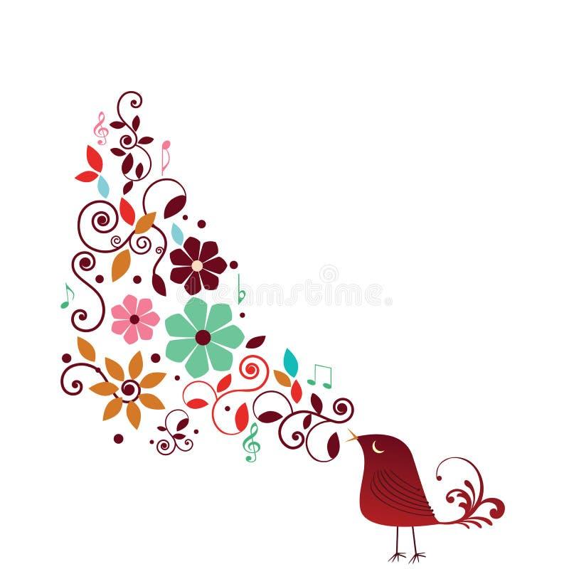 Chant d'oiseau de Whimisical illustration stock