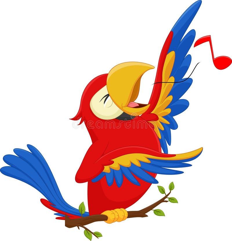 Chant drôle de perroquet de bande dessinée illustration stock