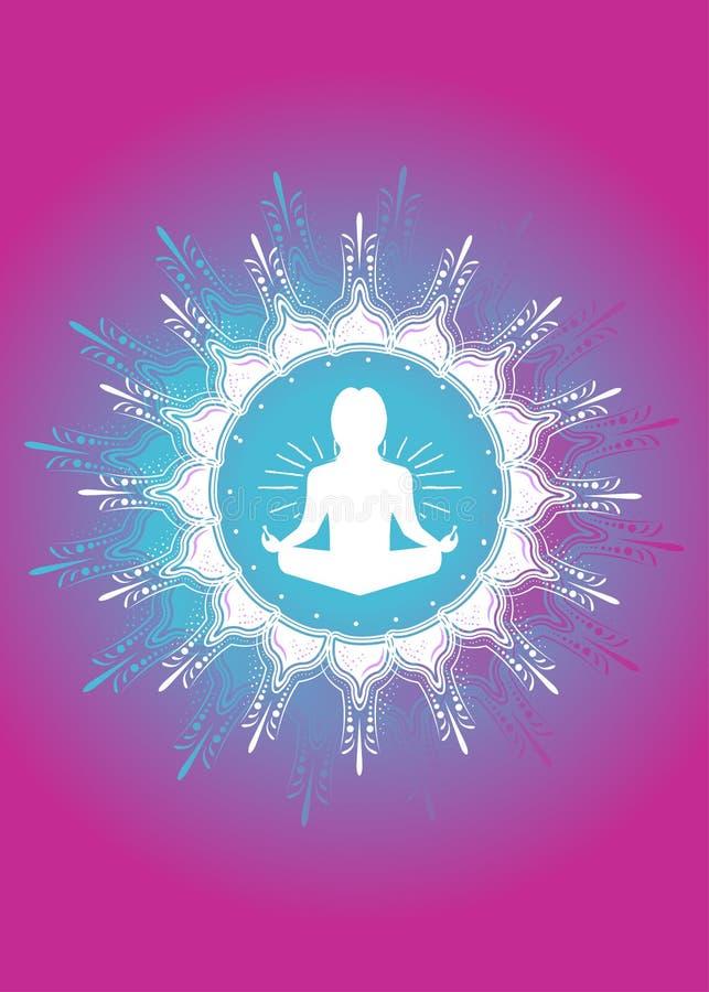 Chant religieux coloré d'affiche d'habillement de mélange de namaste de yoga illustration libre de droits