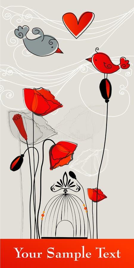 Chant romantique mignon d'oiseaux illustration stock