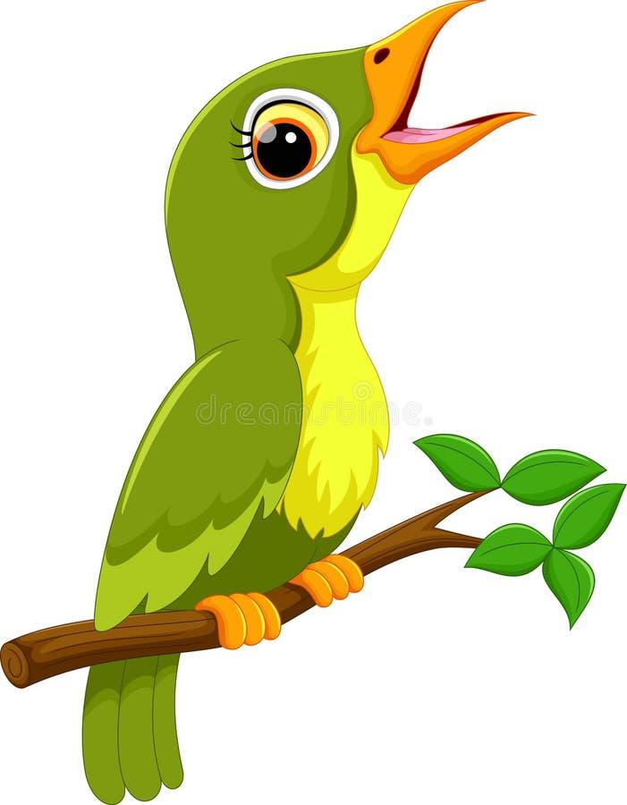 Chant vert mignon de bande dessinée d'oiseau illustration libre de droits