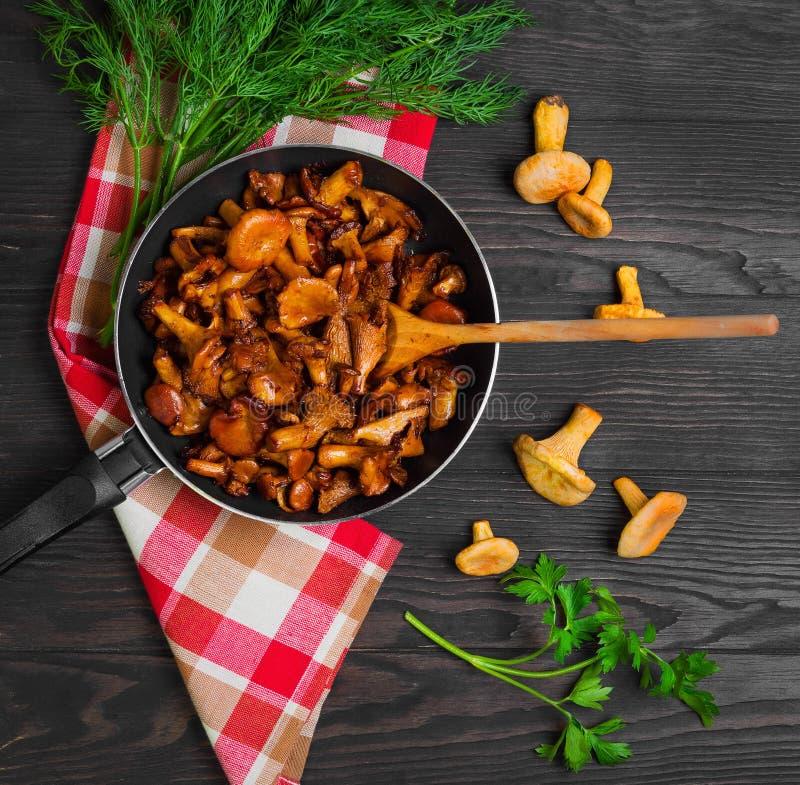 Chanterelle mushrooms fried royalty free stock photos