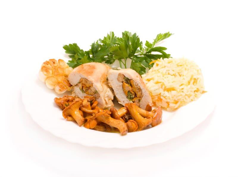 chanterelles jedzenia smakosz kurczaka zdjęcia royalty free
