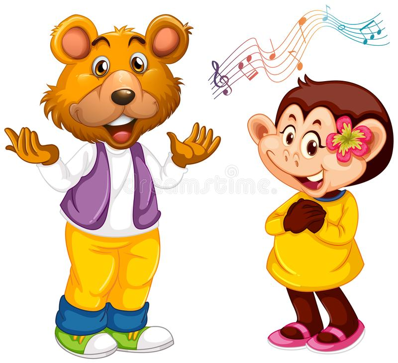 Chanteur animal sur le fond blanc illustration stock