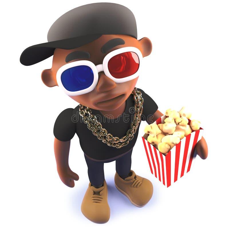 Chanteur de coup sec et dur d'houblon de hanche de noir de bande dessinée dans 3d portant les lunettes 3d et mangeant du maïs écl illustration stock