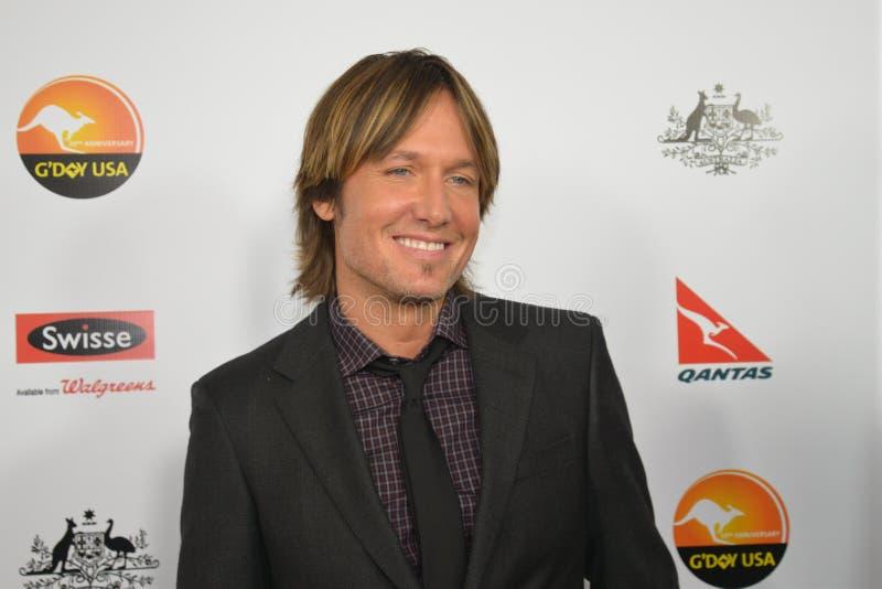 Chanteur de musique country de Keith Urban sur le tapis rouge chez G'day Etats-Unis images libres de droits