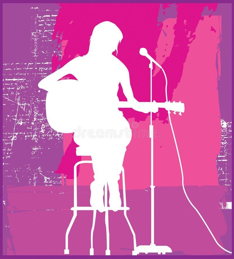 Chanteur féminin sur le siège illustration stock