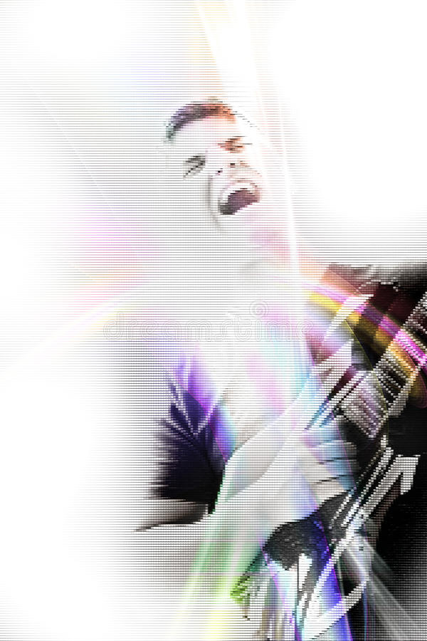 Chanteur génial de guitare illustration stock