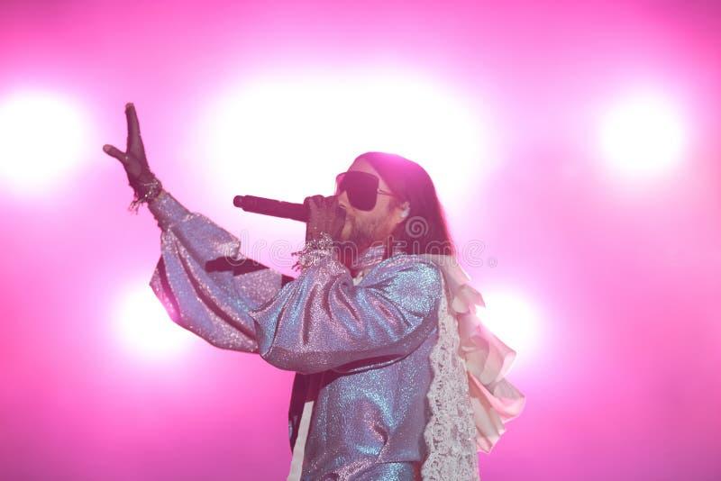Chanteur Jared Leto de trente secondes à Mars images libres de droits