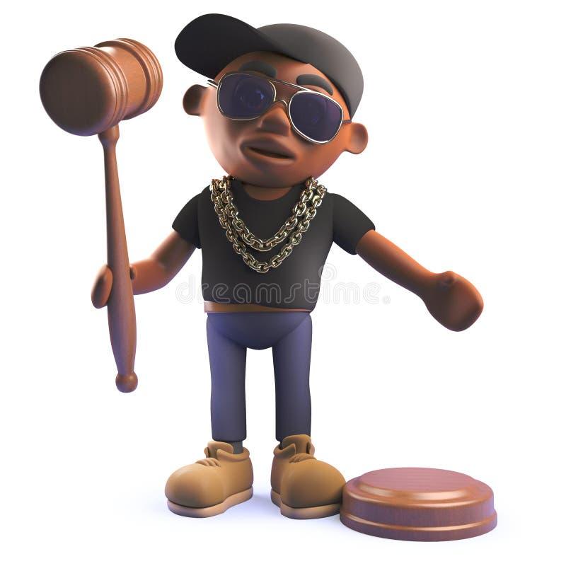 Chanteur noir d'houblon de hanche de coup sec et dur dans 3d tenant un marteau de vente aux enchères illustration libre de droits