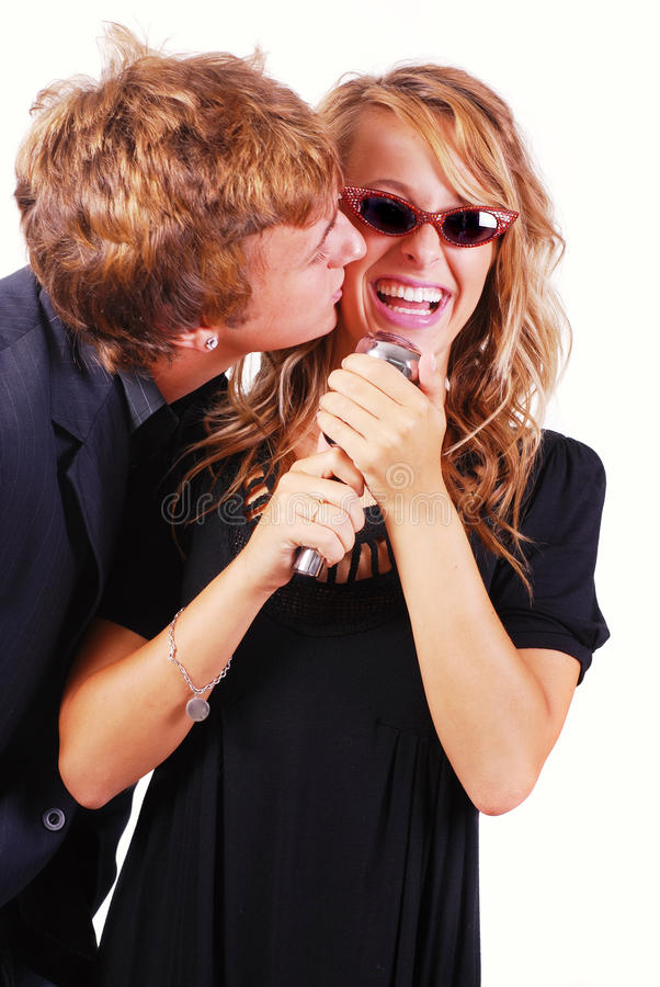 chanteurs de karaoke image libre de droits