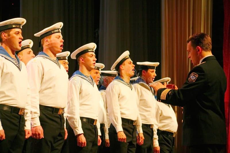 Chantez des soldats russes, du choeur et des solistes de la chanson et de l'ensemble de danse de la zone militaire de Léningrad photos stock
