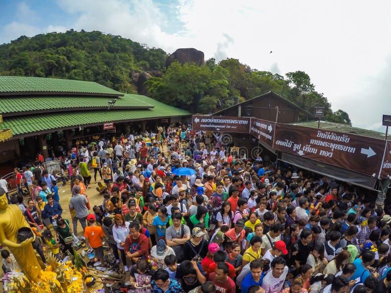 Chanthaburi, THAILAND - 3 Apr 2016, Thai People travel to Kitchakood for pray the holy Buddhism footprint landmark of Chanthaburi royalty free stock image