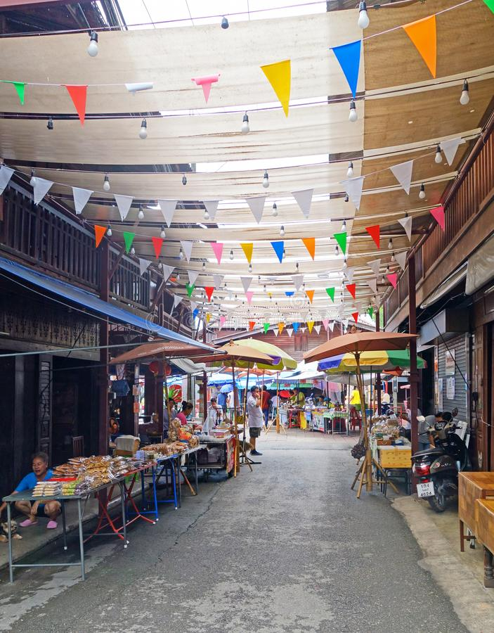 CHANTHABURI THAILAND-26 JULY 2019: Nong Bua market or thai freak desserts maket have a strange sounding names which desserts made stock images