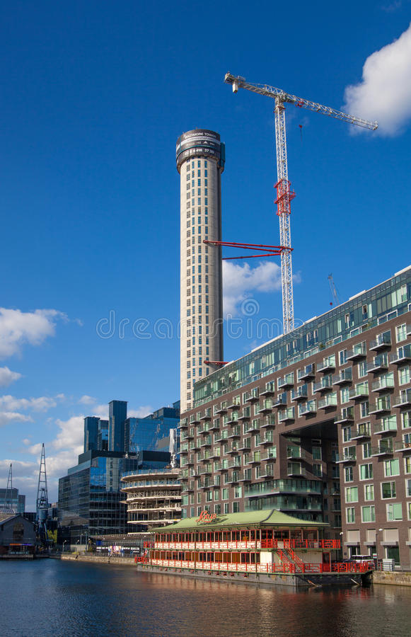 Chantier de Canary Wharf, Londres photos stock