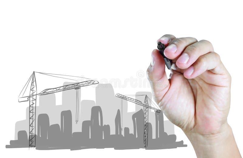 Chantier de construction d'aspiration de main illustration stock