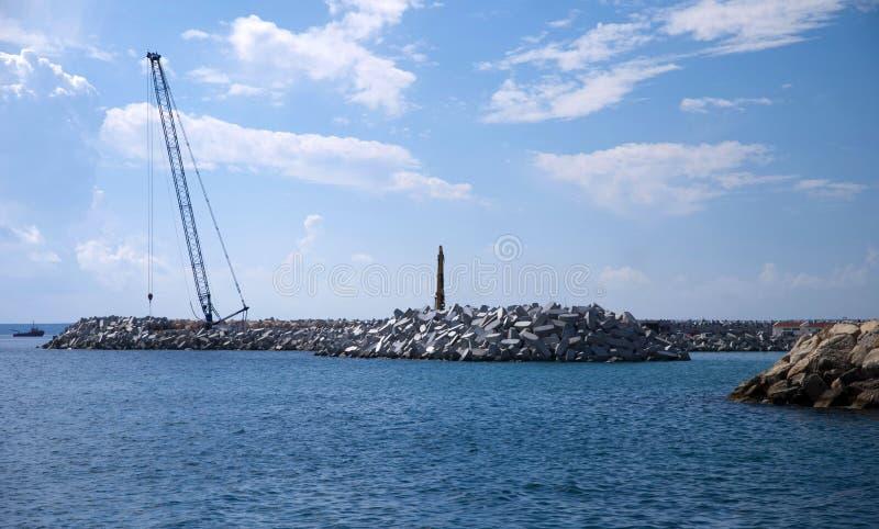 Chantier de construction d'un port neuf photo libre de droits