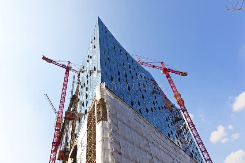 Chantier de construction de l'Elbphilharmonie dans le port de Hambourg photos stock