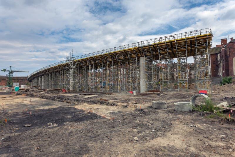 Chantier de construction de passage supérieur. Danzig - la Pologne. images stock