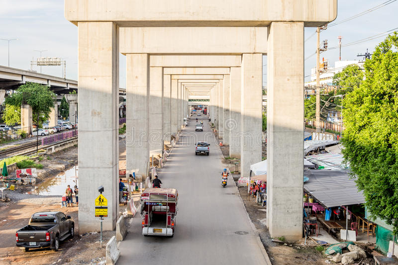 Chantier de construction de train de ciel Bangsue-Rangsit image libre de droits