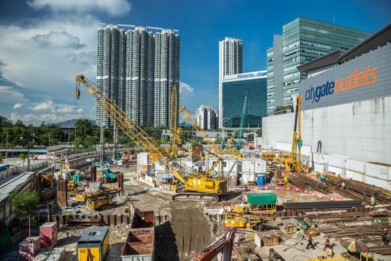 Chantier de construction en Hong Kong, horizons modernes comme fond Hong Kong, Chine Janvier 2018 photo libre de droits