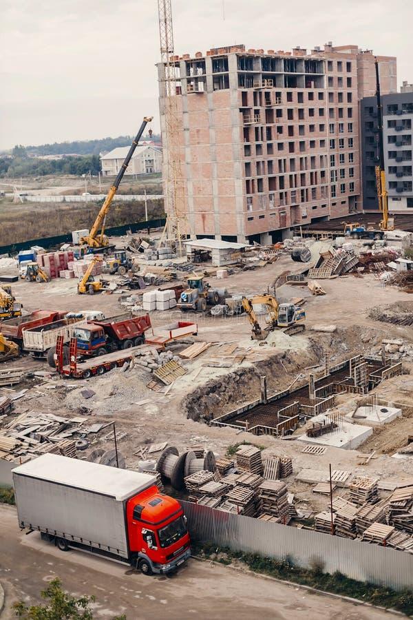 Chantier de construction, machines de construction, bouteur, excavation photographie stock