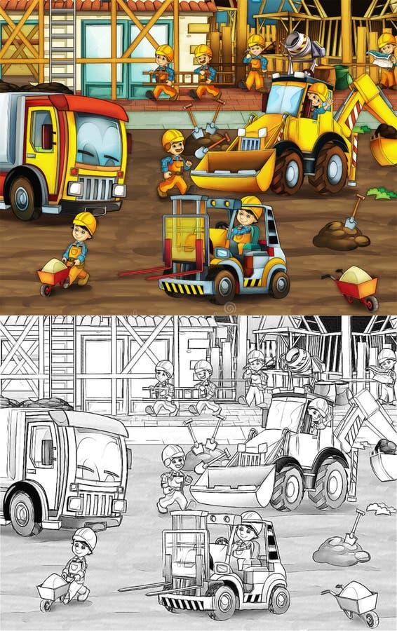 Chantier de construction - page de coloration avec la prévision illustration stock