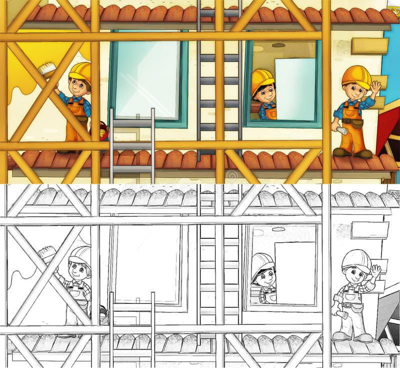 Chantier de construction - page de coloration avec la prévision illustration libre de droits