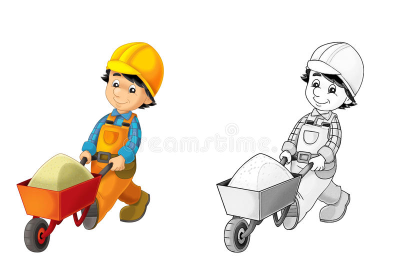 Chantier de construction - page de coloration avec la prévision illustration stock