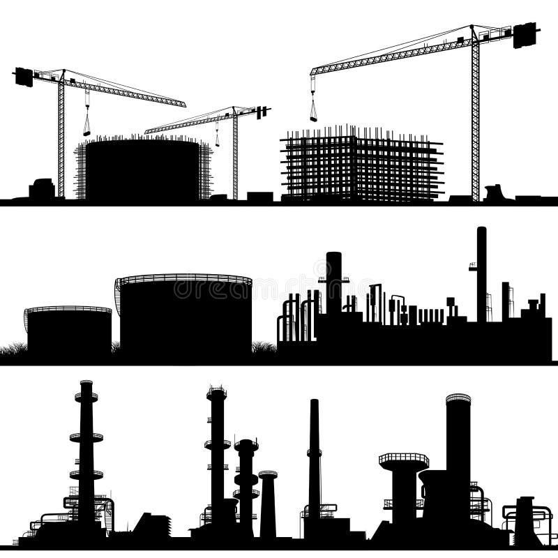 Chantier de construction, refinerie et centrale illustration libre de droits