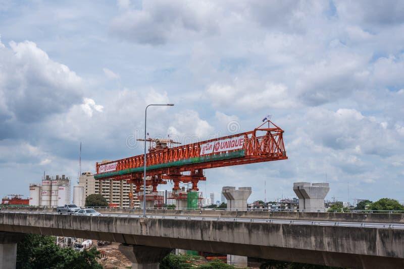 Chantier de construction de train de ciel Bangsue-Rangsit photographie stock