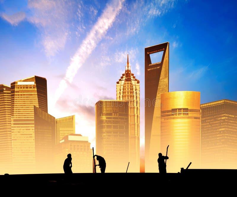 Chantiers de construction de Changhaï Lujiazui image libre de droits