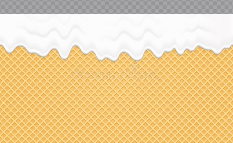Chantiliy derretido no fundo da bolacha Textura sem emenda macia do fluxo de creme Ilustração do vetor ilustração do vetor