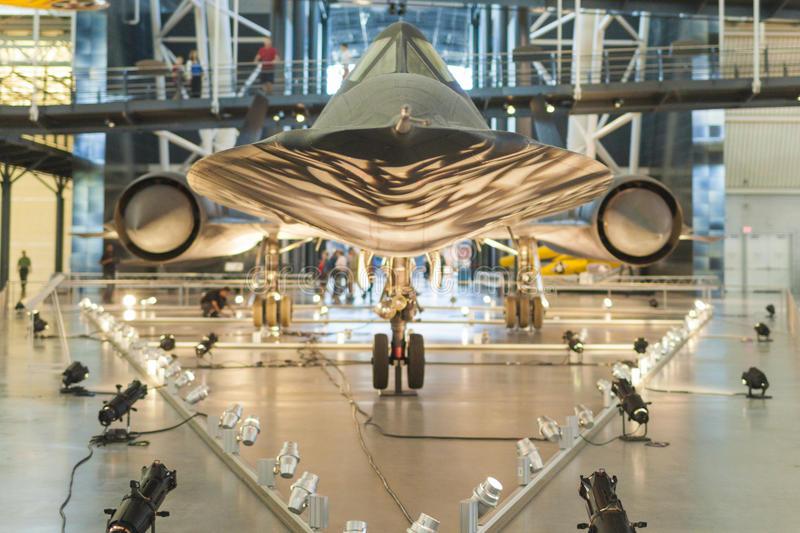 Chantilly- USA, September, 26: Lockheed SR-71 Blackbird on Display in National Air and Space Museum in Steven F. stock photo