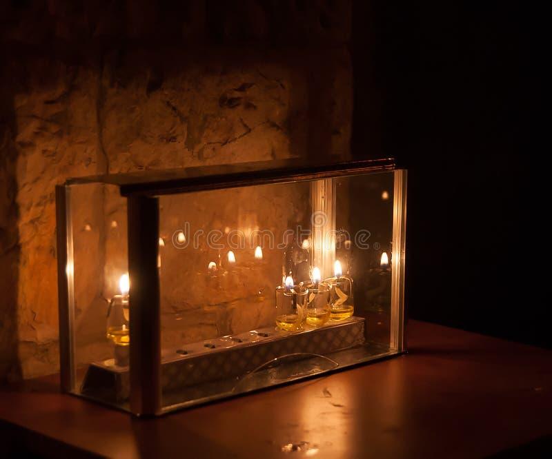 Chanuka światła w Jerozolima fotografia royalty free