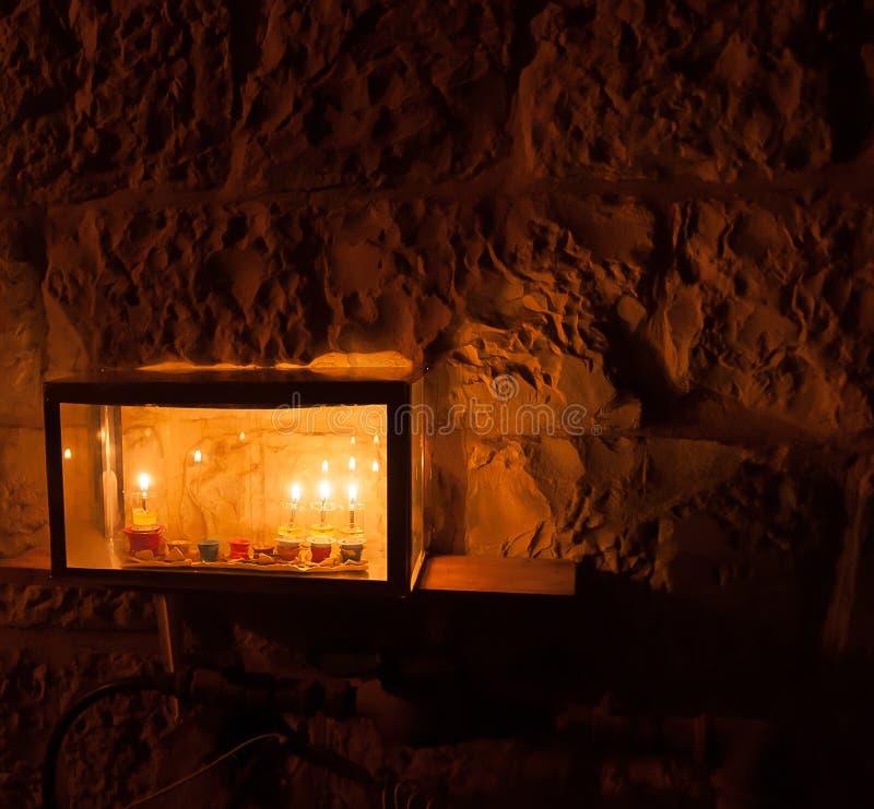 Chanuka światła w Jerozolima zdjęcia stock