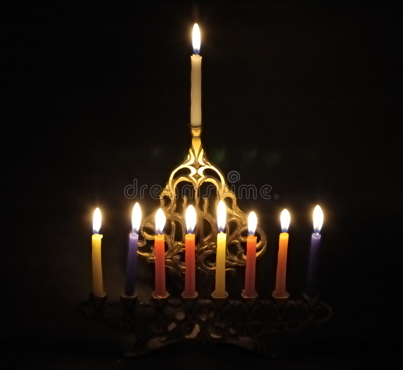 Chanuka candles stock photography