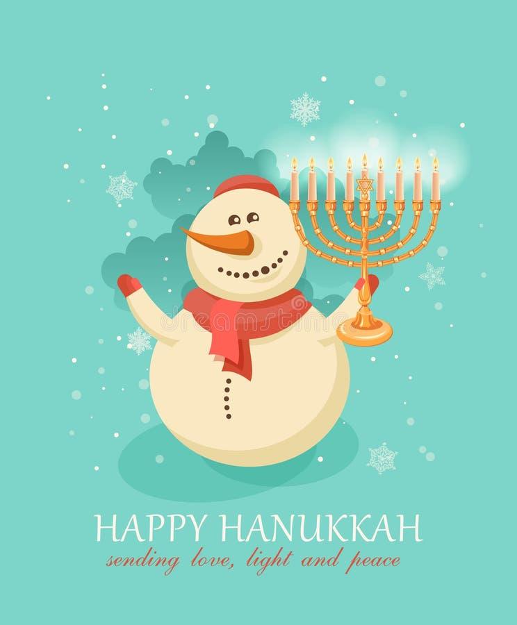 Chanuka do Hanukkah e Natal, boneco de neve que comemora a estação nova ilustração do vetor